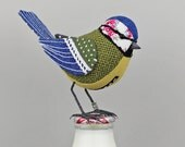 Blue-Tit Sculpture - FABRIC BIRD - Made to Order