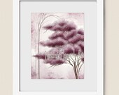 8 x 10 Mauve and Pink Wall Decor for House, Flowering Tree Art Print, Living Room or Dining Room Wall Art, Mauve Wall Decor (387)