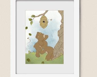 Teddy Bear with Honey Childrens Art Print for Nursery Room, 5 x 7 Wall Art for Boys or Girls Decor, Nursery Wall Decor (200)
