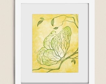 Yellow and Green Wall Art Butterfly Decor, Abstract Tree Art, 11 x 14 Art for Living Room Decor, Butterfly Art  (250)