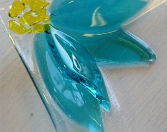 Fused glass light turquoise  flower dish candy dish