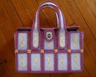 Vintage Handmade Woven Purple and White Handbag Purse - One of a Kind