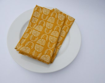 Cloth Napkins, Organic Cotton, Set of 6, Hand Printed Floral on Mustard