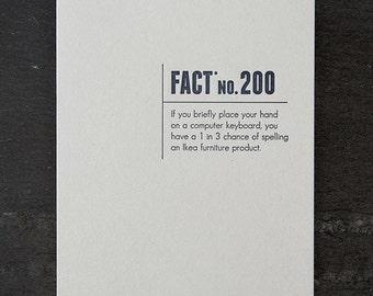 ikea. made up stats. letterpress card. #342