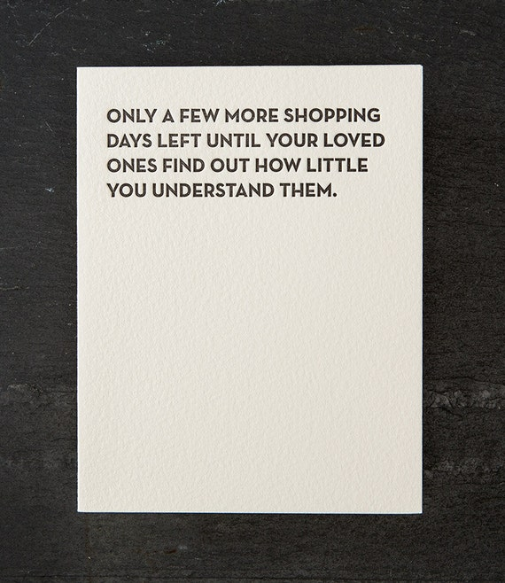 shopping days. holiday. letterpress card. red envelope. #111