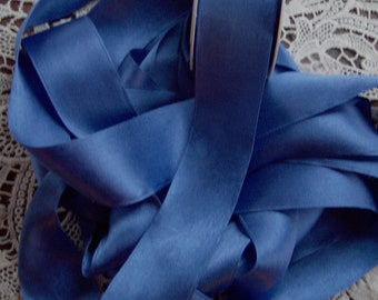 Pure SILK SATIN  Ribbon  Royal Blue Color 1 1/2 inch 36 mm  wide  3 yds