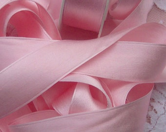 100 % Pure Silk/Satin Double Face  Ribbon Pink  Color 1  inch wide 5 yard Spool