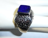 Vintage Heavy Sterling Silver and Lapis sz 9 Ring on Etsy