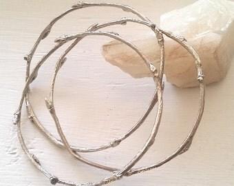 Twig Bangles ~ white bronze twig bangle set stacking bangles wood texture minimalist jewelry nature inspired