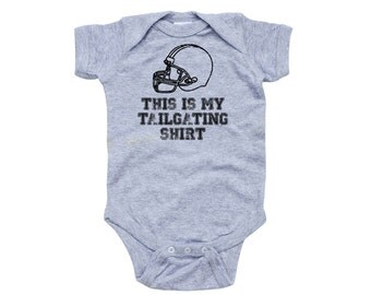 Cute Funny This is My Tailgating Shirt Short Sleeve Baby Bodysuit in Many Colors Fun Football Sports Fan Infant Gift