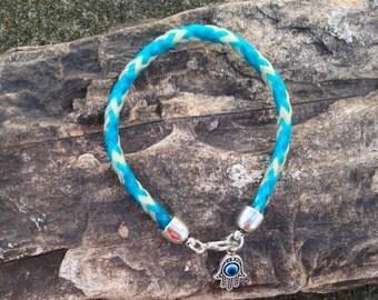 8 Inch Blue/White Horse Hair Braided Horsehair Bracelet With Hamsa Charm - 6MM Round Braid