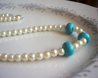 Turquoise and pearl long necklace, turquoise jewelry, pearl necklace, pearl jewelry