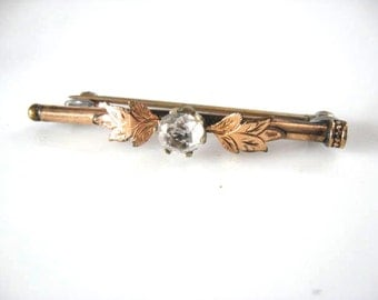 Victorian Paste Bar Pin Brooch Rhinestone Black Dot Leaves Gold Filled Edwardian