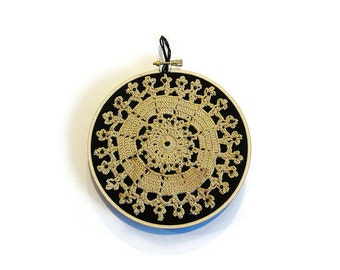 Wall hoop art doily embroidered applique black and beige