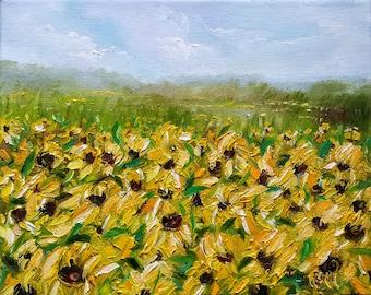 Sunflower Field - landscape oil painting , sunflowers, yellow flowers, original painting, field, flowers, nature, 8x10