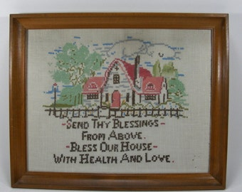 Vintage Cross Stitch Cottage Picket Fence Wood Frame Glass