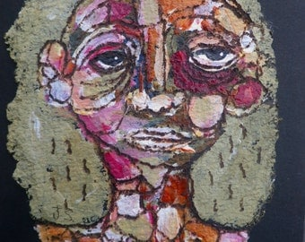 Upcycled Recycled Original Painting Tar Paper Portrait