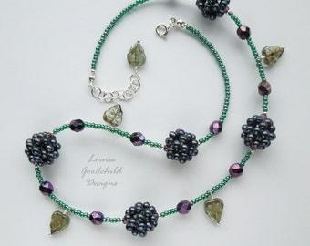 Blackberry Way freshwater pearl sterling silver necklace, blackberry necklace, bramble necklace, sterling silver necklace