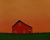 "Old Red Barn Painting Farm  Small 6 X 6"" Sunset STUDY ORIGINAL Landscape Folk Art Original Country, Birthday, Present Gift  Anniversary"
