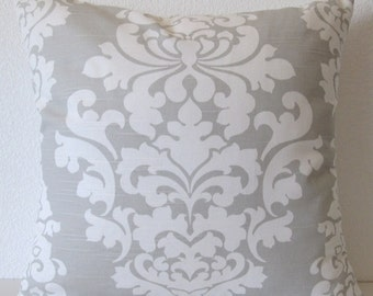 Pillow Cover - White - Grey - Damask - Berlin French Grey Print - Decorative - Throw - Pillow case
