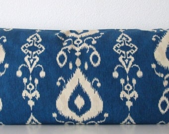 Blue ikat decorative body pillow cover  - 20x54 - Mill Creek Tullahoma Ikat Bay - accent pillow cover