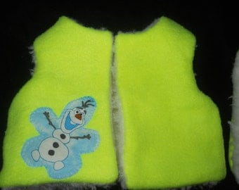 Fluorescent  Yellow Resversable Vest and Hat for Bitty Baby 16in Doll Fur lined with Disney Olaf from Frozen