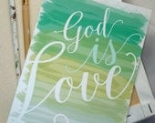 Turquoise & Greens Watercolor God IS Love Wedding Invitation Set - Sample