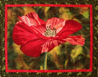 One Poppy Art Quilt Pattern by Lenore Crawford