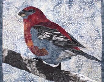 Pine Grosbeak Art Quilt Pattern by Lenore Crawford