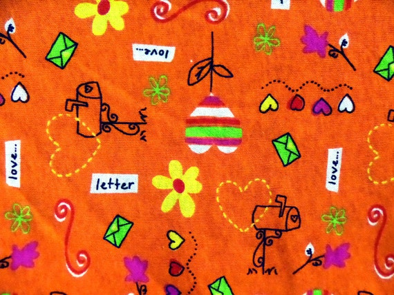 Kids cotton knit fabric bright orange hearts and flowers for Kids fabric by the yard