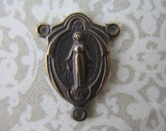 Rosary Center Connector Mary Draped Bronze Religious Jewelry Supplies B247LS