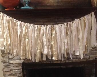 Gold & Cream Garland~rag Garland~Wedding Garland~Gold~Neutral Fabric Garland ~  wedding Rag Harland ~ Wedding Shower Decor