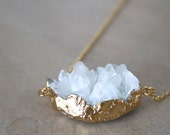 White Quartz Druzy Gold Plated Chain Necklace / Christmas / Gift for Her