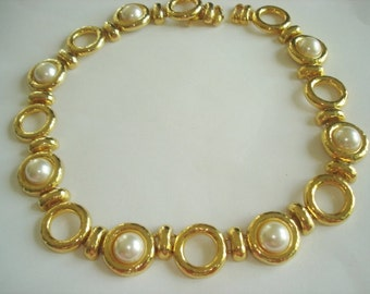Pearl Chain Link Gold Tone Necklace