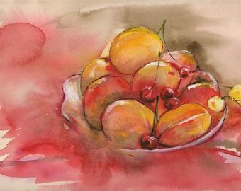 Cherries,  PRINT,  from my original artwork
