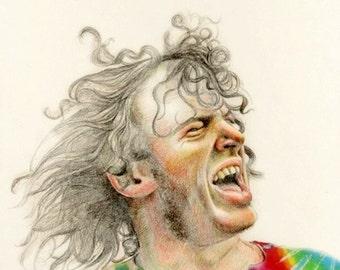 Joe Cocker, rock star, print from original drawing, pencil drawing, portrait art, Custom portrait ART