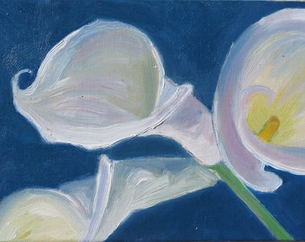 Calla Lily I. Framed 5 x 7 inch oil on canvas board.  Yvonne Wagner. Lilies. White lily. Two companion paintings. Framed. Gold Fame.