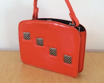 Vintage 1960s ORANGE Patent Leather Purse