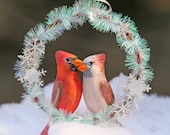 Christmas Cardinal Sparkle Snowflake Handmade Ornament in Gift Box