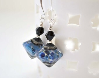 Lampwork Earrings, Navy Blue Earrings, Glass Bead Earrings, Diamond Shaped Earrings