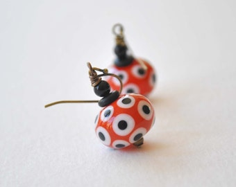Orange Earrings, Polka Dot Earrings, Glass Bead Earrings, Lampwork Earrings