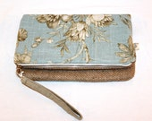 Foldover Clutch in Aqua Floral Linen and Coffee Bag Jute