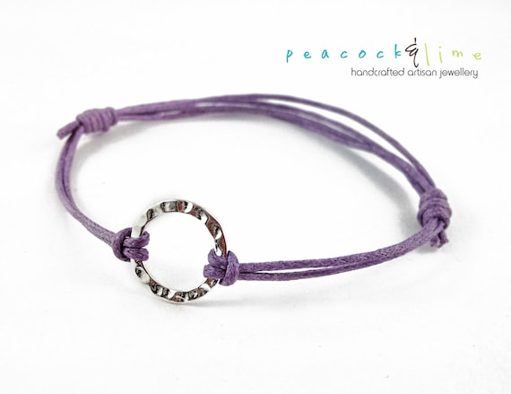 Karma Circle Wish bracelet // lilac lavender purple waxed cotton // sterling silver circle wish bracelet // handmade // ready to ship