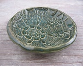 Small Forest Green Handmade Ceramic Spoon Rest of Jewelry Bowl