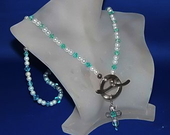 Super Long, Lariat, Hand Beaded, Silver Plate Cross Necklace with Front Toggle, Blue Crystals and Glass Pearls CLEARANCE!