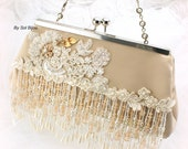 Beige Purse, Ivory,Tan, Beige, Gold, Champagne, Beaded, Wedding, Handbag, Lace Purse, Fringe Purse, Crystals, Pearls, Elegant, Vintage Style