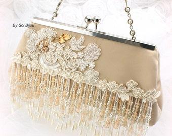 Beige Purse, Ivory,Tan, Beige, Gold, Champagne, Beaded, Wedding, Handbag, Lace Purse, Fringe Purse, Crystals, Pearls, Elegant, Vintage Style