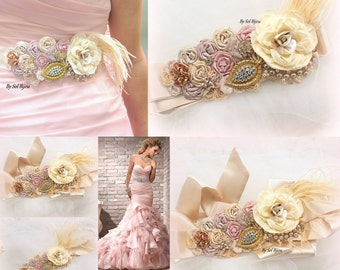 Sash, Blush, Rose, Dusty Rose, Tan, Champagne, Gold, Bridal, Vintage Style, Elegant Wedding, Lace, Vintage Brooch, Feathers, Pearls
