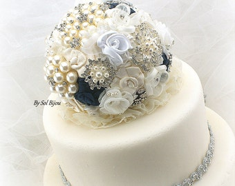 Brooch Cake Topper, Navy Cake Topper, Ivory, Cream, Silver, White, Blue, Jeweled, Cake Decoration, Pearls, Crystals, Lace, Vintage Style