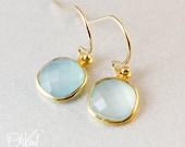 Aqua Chalcedony Earrings - Minimalist Gemstone Earrings - Gifts from 20